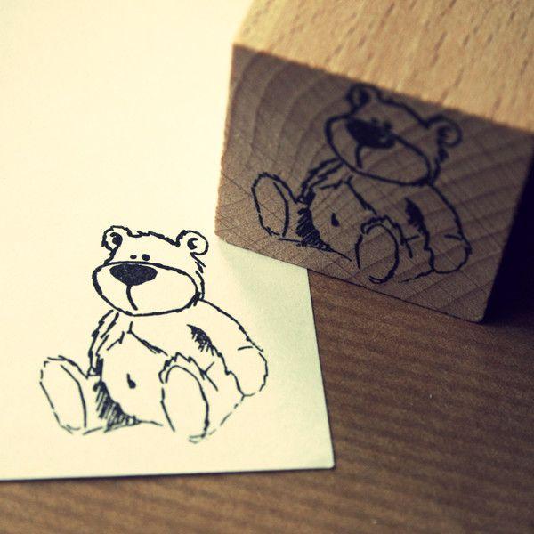"""Tiere - Stempel """"Teddy""""  - ein Designerstück von diemitdemwurmtanzt bei DaWanda"""