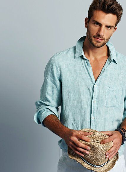 Love the color of this linen shirt, perfect for summer, men's style