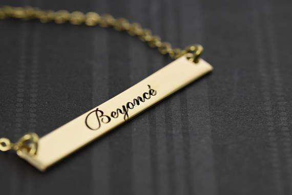 Custom Name Bar Necklace, Name Bar Necklace, #jewelry #necklace @EtsyMktgTool #customname #barnecklace #namebarnecklace #verticalbar