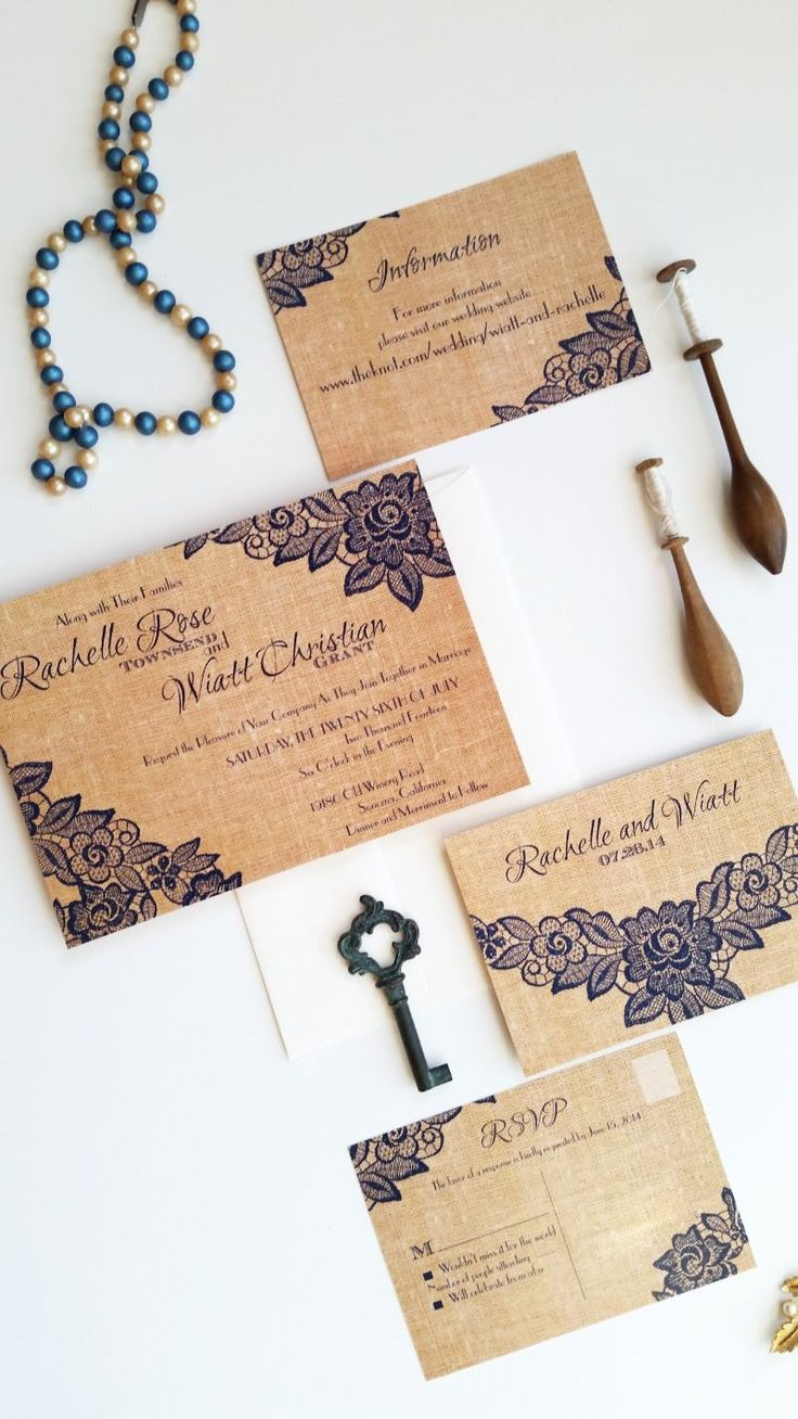 Rustic burlap wedding invitation set {coordinated items available} See more here: http://designedwithamore.com/product/wedding-invitations-albanynatural-deposit/