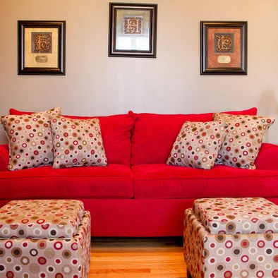 Love the wall color w/ red couch & pillows!!!!
