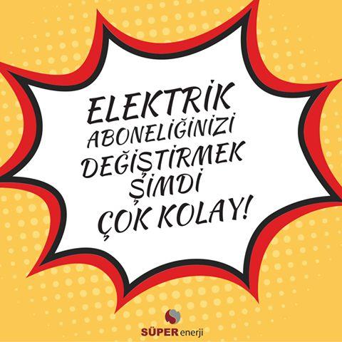 Süper Enerji ile başka bir dünya mümkün!  Standart tarife, çevre dostu ya da zamsız tarifeye geçin; elektrik tüketiminizde tasarruf edin! Aylık 130 TL ve üzeri elektrik faturası ödüyorsanız, ek maliyet olmadan avantajlı tarifelerimizle elektriğinizi #SüperEnerji'den tedarik edebilirsiniz.   İletişim bilgilerinizi http://bit.ly/1QwFQFw linkine tıklayarak bize bırakın, sizi hemen arayalım! Detaylı bilgi: 0(212) 465 6400