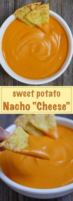 """Sweet Potato Nacho """"Cheese"""" is dairy-free, paleo, vegan and allergy-friendly. Recipe by http://MyHeartBeets.com"""