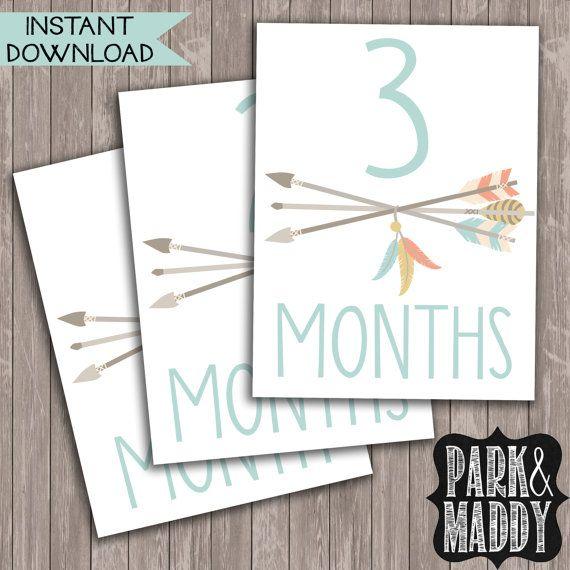 Baby Boy monatlichen Meilenstein Karten / neues von ParkAndMaddy