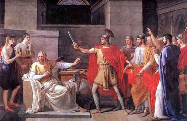 """El cuadro """"Wamba renunciando la corona"""" de Juan Antonio Ribera (1779-1860) - Wamba, rey de los Visigodos (d. 687; r. 672-680)"""