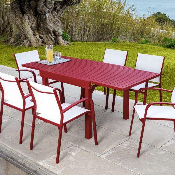 Gartentisch Ausziehbar Murano Aluminium Bis Zu 8 Pers Rot Gartenmobel Loungemobel Eminza Gartentisch Lounge Mobel Aluminium