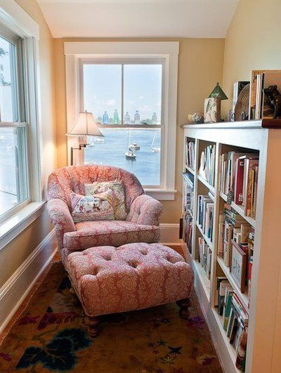 Cozy Reading Nook - in corner between stairs and wall in living room? Is there room for bookcase against the stair railing?