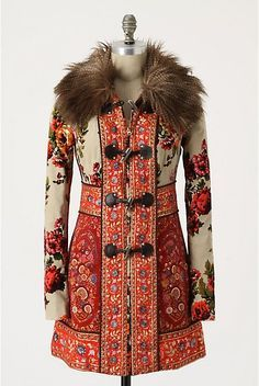 The Karelia coat, inspired by Russian tapestries.