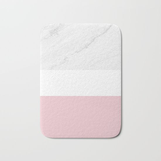 Marble And Dusty Pink Bath Mat by ARTbyJWP from Society6 - $20 #mats #bathmat #bathroom #marble #pinkandgray