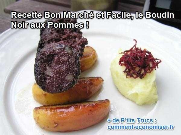 Poêlé avec des pommes, le boudin noir se marie à merveille avec une purée de pommes de terre ou une salade verte. J'adore ses saveurs de sucré-salé. Le petit plus ? C'est un plat sain et rapide à faire.  Découvrez l'astuce ici : http://www.comment-economiser.fr/recette-bon-marche-facile-boudin-noir-pommes.html?utm_content=buffer79132&utm_medium=social&utm_source=pinterest.com&utm_campaign=buffer