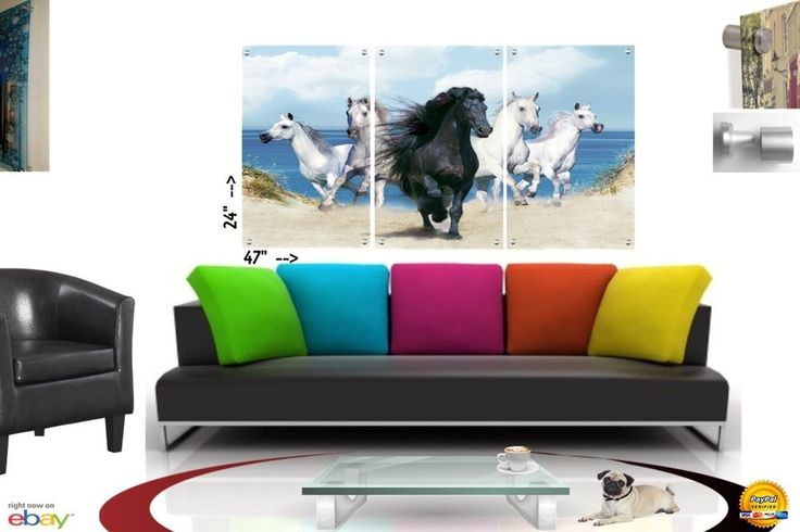 Wall Art in Floating Acrylic Glass Plexiglass Modern Art Horses Decor 3 Panel #Modern