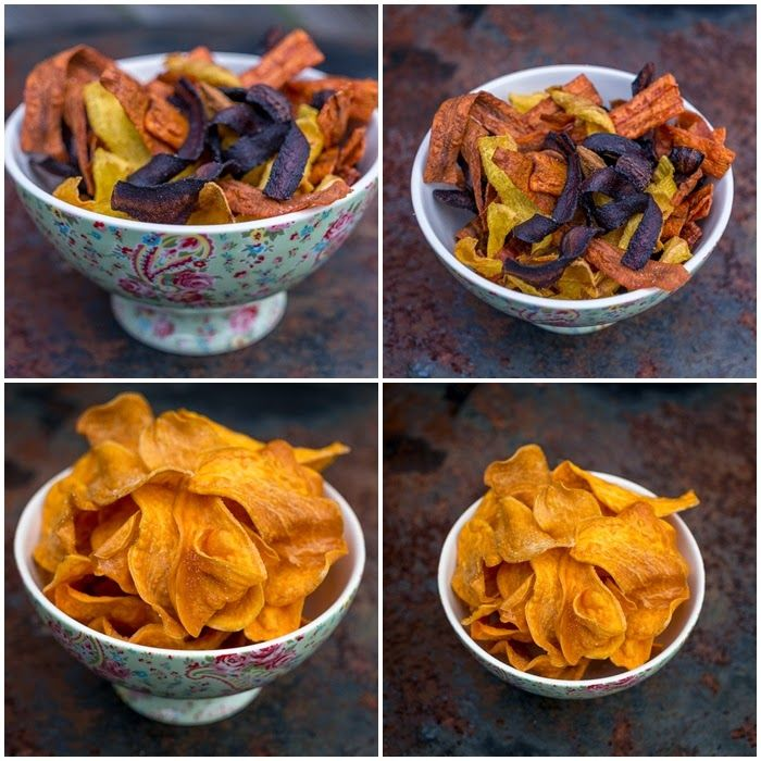 Färgglada hemmagjorda rotfruktschips. Homemade rootchips.