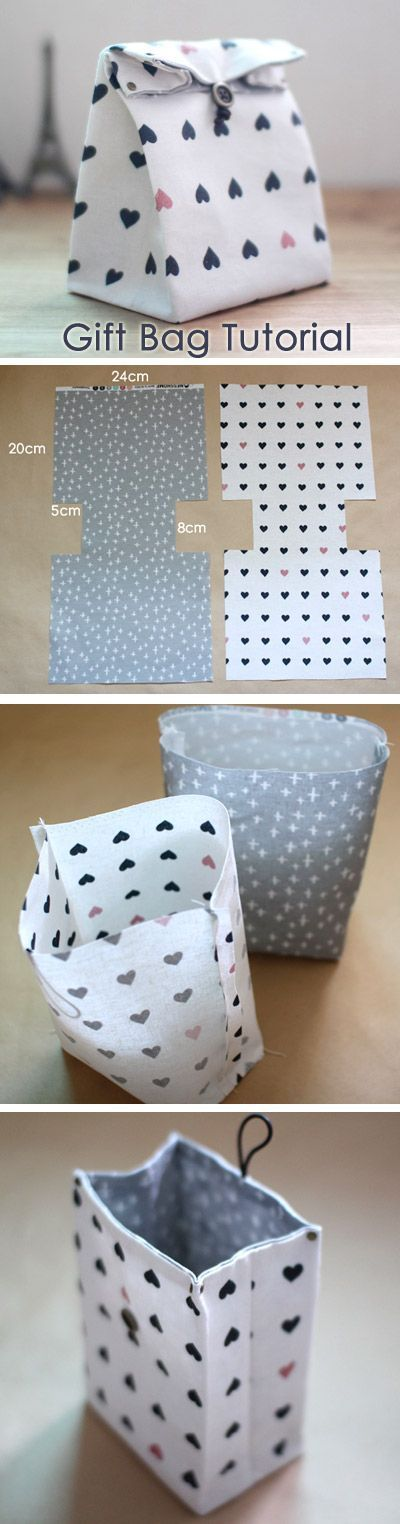 Cute as a lunch bag too! Traditional-style Fabric Gift Bags Instructions DIY step-by-step tutorial. http://www.handmadiya.com/2015/10/fabric-gift-bag-tutorial.html