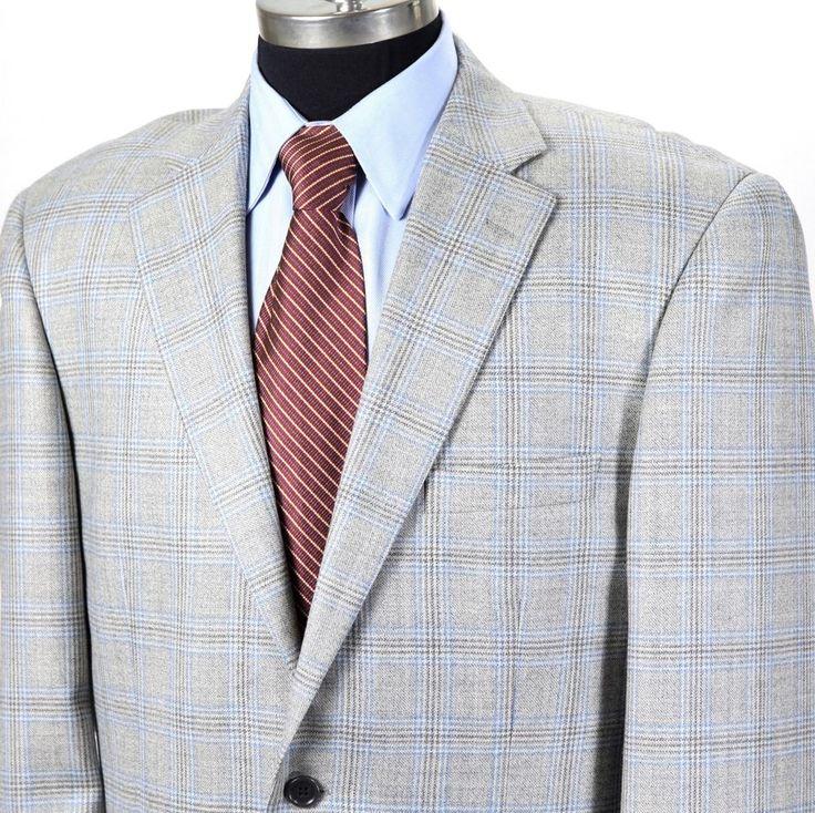 PAUL FREDRICK Mens 40L Light Gray Blue Plaid 2-Button Wool