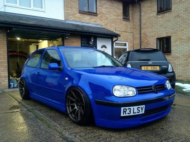 Blue VW Golf MK4  love the wheels