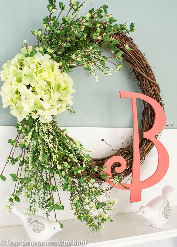 How to make a spring hydrangea wreath using a grapevine wreath, faux hydrangeas and greens from your local craft store. A 30 minute craft to introduce spring.