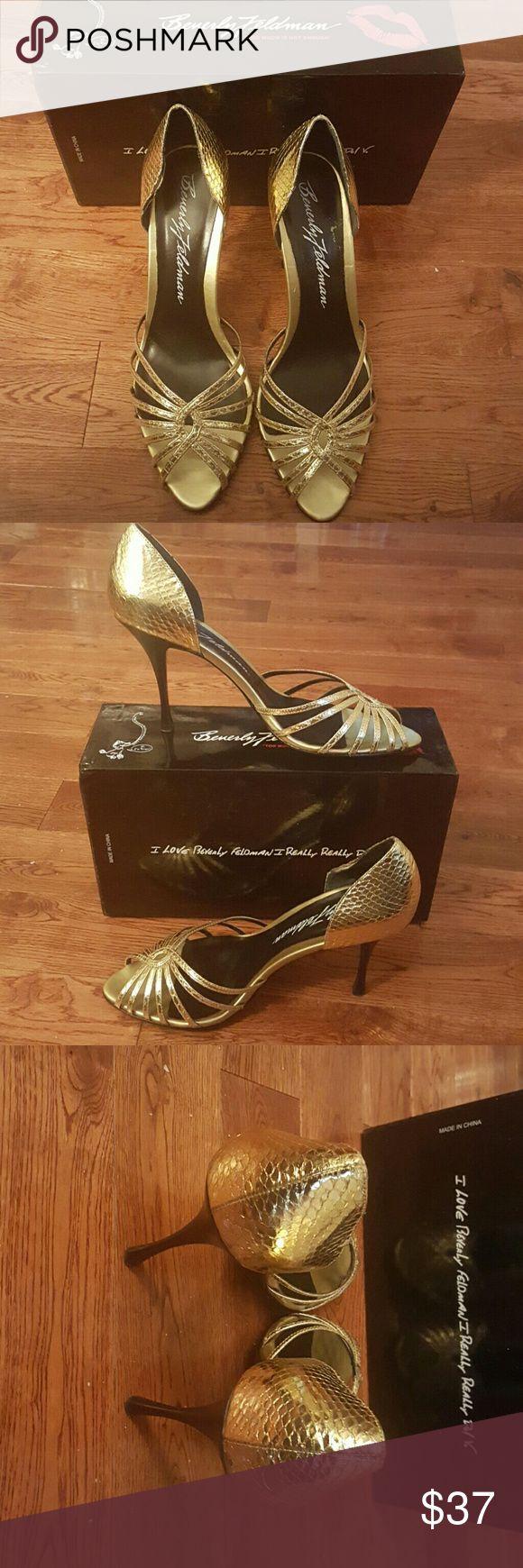 Beverly Feldman Gold High Heel Sandal 10 Very minimal wear. Very sexy yet classy shoe. Purchased originally from a designer shoe warehouse. Size 10 Beverly Feldman Shoes Heels
