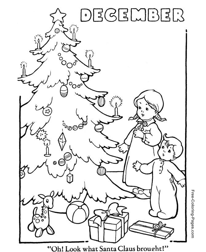 Winter Coloring Book Pages Christmas Tree