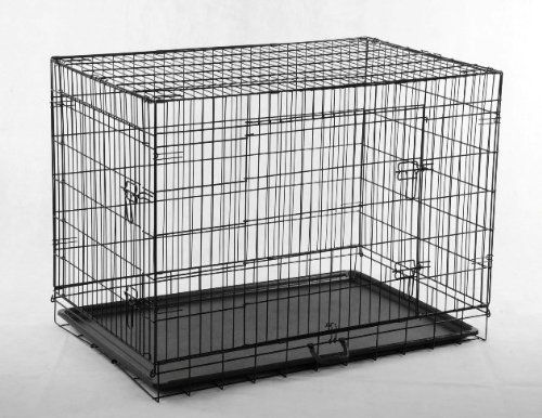 """Folds down easily - take it anywhere! Size: 36""""(L) x 22""""(W) x 25""""(H) Fully assemblied. Just open and fold. Rounded Edges - Safer for puppy Material: low carbon steel wire Durable Electro-Coat Finish Two doors for each cage, one on the side, one on the front. Tough Coated ABS Pan: Deluxe and Easy to clean! No Divider"""