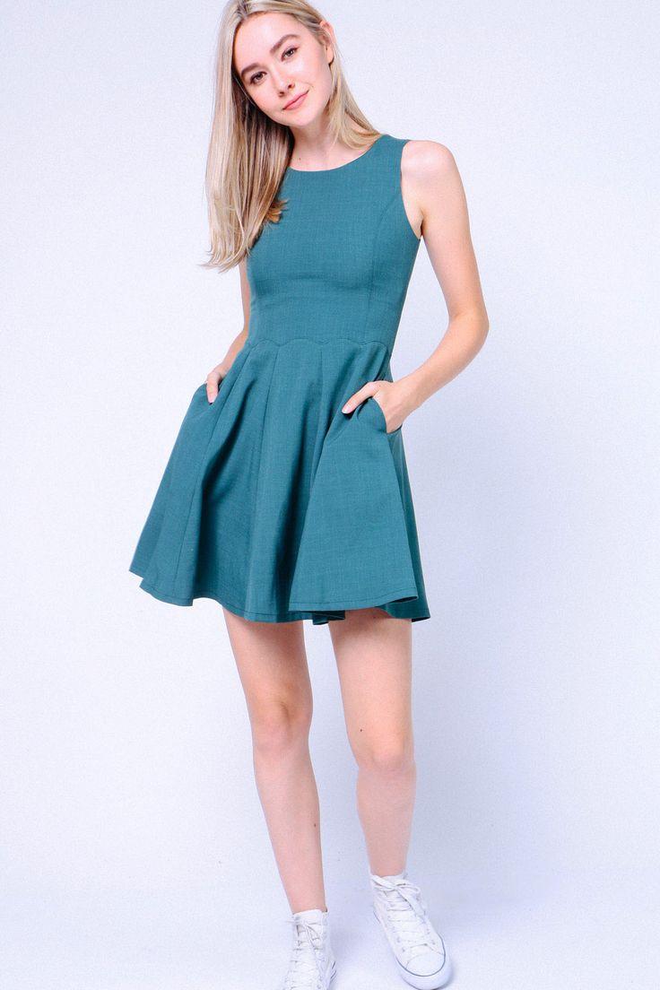Scallop Waist Trim Dress (Green) Image 0