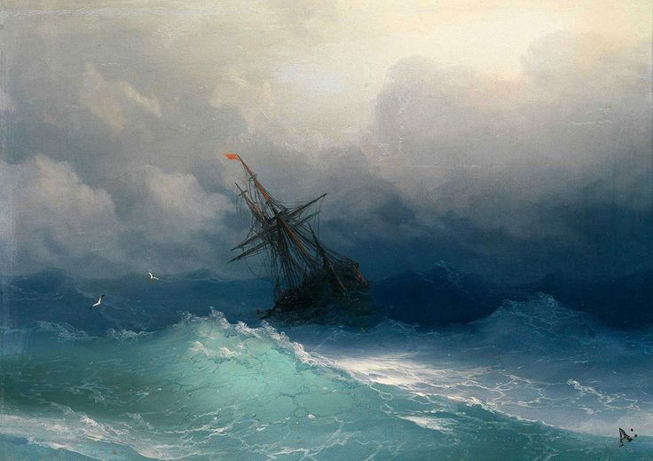 Ivan Konstantinovich Aivazovsky. Ship on Stormy Seas. Buy this painting as premium quality canvas art print from Modarty Art Gallery. #art, #canvas, #design, #painting, #print, #poster, #decoration