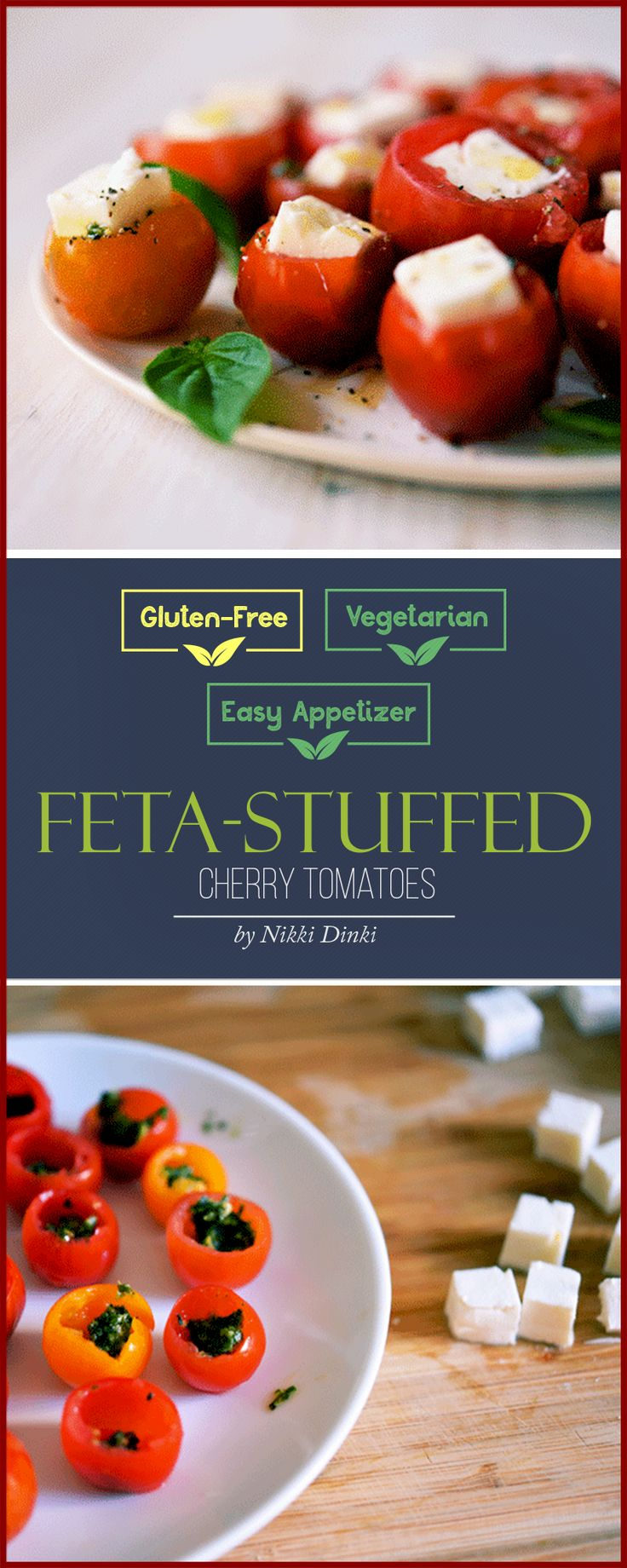A perfect easy appetizer that's both healthy and delicious. These feta-stuffed cherry tomatoes are a flavorful, bite-sized party food. plus they're gluten-free and vegetarian, great for summer parties or a nutritious snack.