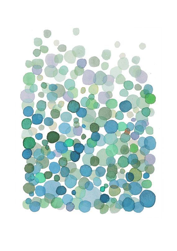 Art print watercolor painting - Bubbles - blue green watercolor print - home decor - nursery room decor