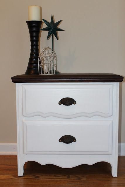Painted and stained nightstand. Love the lines and the contrast of colors.