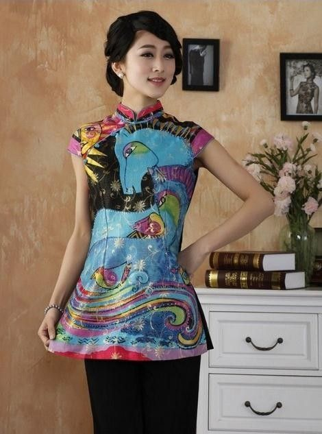 High Fashion Chinese WomenSilk Satin Blouse Novelty Graffiti Shirt Traditional Mandarin Collar tops S M L XL XXL XXXL TY13