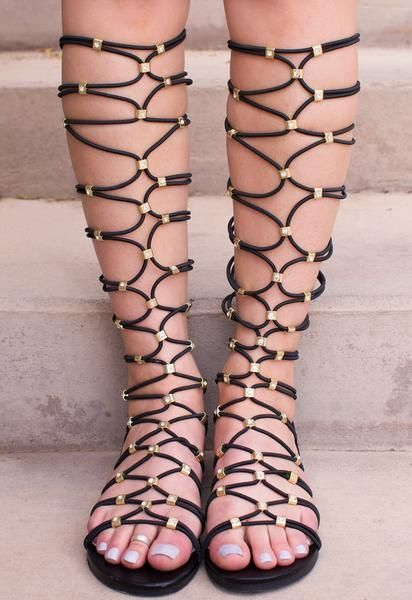 8b260aaf5411 Embody a Greek goddess in these Goddess Gladiator Sandals in black!  Featuring a faux leather