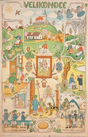 Lada Josef (1887–1957) | Plakát Velikonoce, 1948 | Aukce obrazů, starožitností | Aukční dům Sýpka