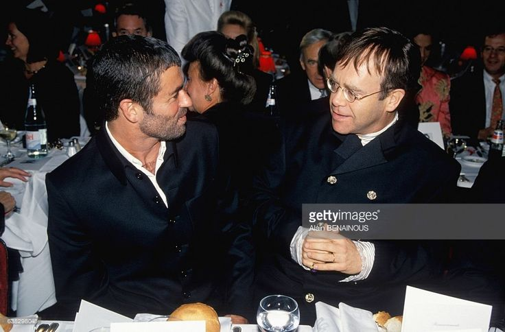 George Michael and Elton John at the party against AIDS at the Moulin Rouge cabaret on October 11, 1994 in Paris, France.