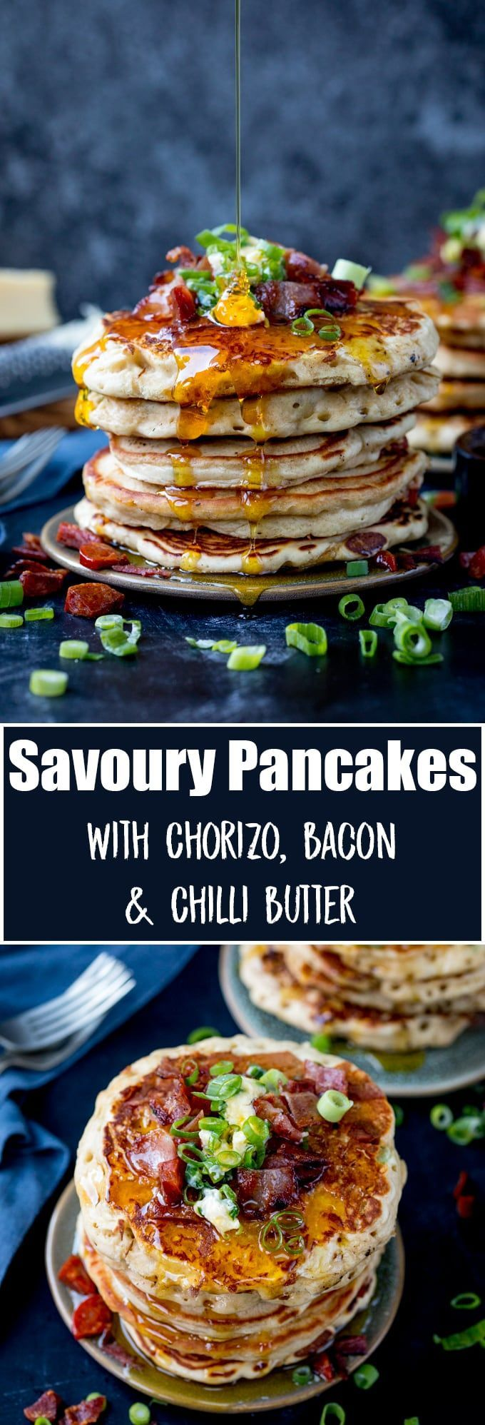Savoury Dinner Pancakes with Chilli Butter. These Savoury Pancakes would make great street food!  Simple and quick to make - great for a speedy dinner! #savorypancakes #chilibutter #pancakeday #pancakerecipe #dinnerpancake #shrovetuesday