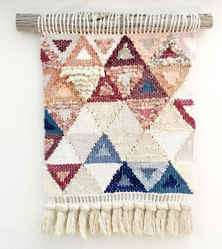 Excited to send this one out! I'm usually not a triangles kind of gal but this template that is included in my weaving shapes class was calling my name!  I'm being pulled more to the geometric designs these days. I love texture... but shapes are my jam right now