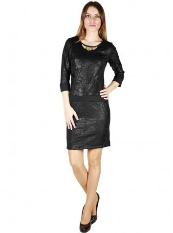 Yakası Kolyeli Truvakar Kol Elbise Siyah