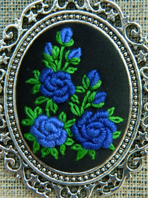 Flower Hand Embroidered Jewellery black and blue by MAZUTORIA
