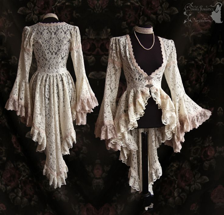 "somniaromantica: "" Long cardigan in bridal lace, decorated with an ivory trim belt with metal clasps, pale blush trim, pale beige blush lace. Fit derived from a late Victorian pattern, adjusted to own..."