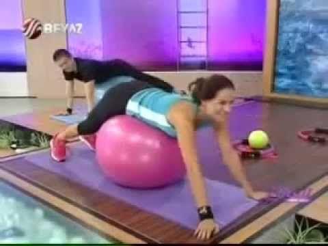 Ebru Şallı Pilates Egzersizleri - Pilates Topu Hhareketleri - YouTube