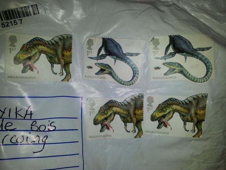 From Betty to me - Sheffield to France. Extra special dino stamps.