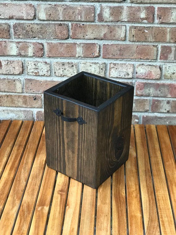 This Unique One Of A Kind Wood Garbage Can Is Handmade By Us A Beautifully Stained Finish Assures T With Images Bathroom Waste Basket Bathroom Trash Can Wooden Trash Can