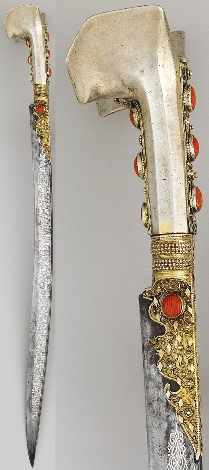 Ottoman (Anatolian or Balkan) yatagan / yataghan, dated 1802–3, steel, silver, gold, coral, Length 29 in. (73.66 cm) Length of blade, 23 1/8 in. (58.72 cm), Met Museum. The yatagan was popular throughout the Ottoman Empire. It is distinguished by a single-edged blade that curves slightly inward and by a hilt with no guard and two flared wings at the pommel.