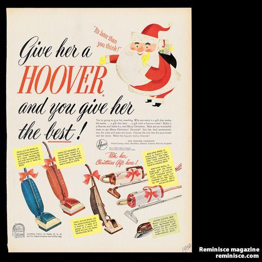 Hoover vacuum cleaner ad, 1950