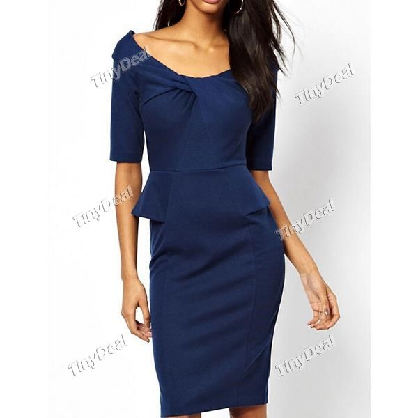 2014 Fashion Casual Purity Elegant Bowknot Crew Neck Knee-Length Mid Sleeve Dresses for Women DCD-348607