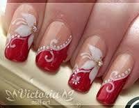 Resultado de imagem para unhas decoradas noivas vermelha