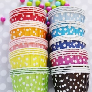 POLKA DOT CANDY CUPS20 Candies, Polka Dots, Rainbows Dots, Rainbows Cups, Baking Cupcakes, Dots Candies, Parties Ideas, Shops Sweets Lulu, Candies Cups