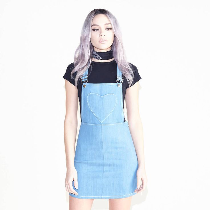 Creme De La This Blue Denim Overall Dress Features Adjustable Straps And A Heart Pocket In The Front Cotton I