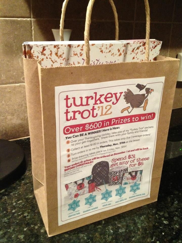 This is a great idea to gather sales during the holiday season - this is a turkey trot idea for Thanksgiving but you can mold it to any holiday you want and the best part is your hostess is doing the leg work its a potential new team member in the making!