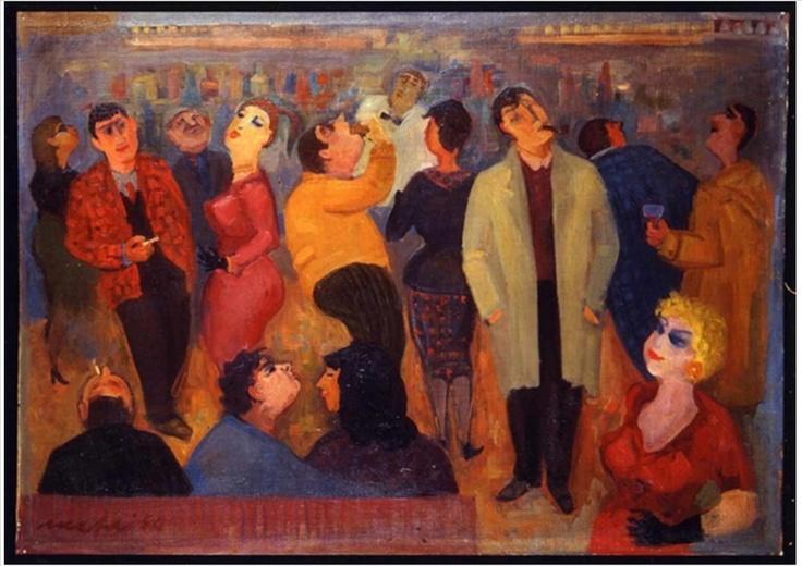 Mario Mafai Il caffè degli intellettuali 1954 olio su tela cm 64 x 90
