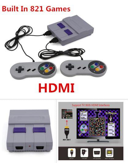 Us Mini Retro Game Console Entertainment Hdmi Built In 821 Super