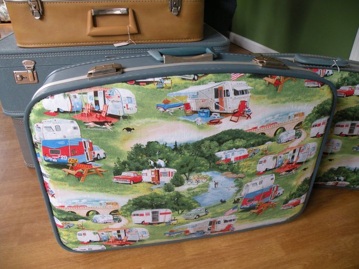 Vintage suitcase upcycled with vintage campers, overnite case 23x17x6, Blue by Traincasesandmore on Etsy